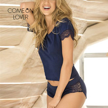 Comeonlover pigiama da notte per donna set Sexy Patchwork pizzo Homewear floreale o collo cotone moda abiti di alta qualità RI80867