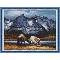 Romances Under The Snow Mountains! DIY Needlework 11CT 14CT DMC Cross Stitch Sets for Embroidery Knitting Needles Stitching