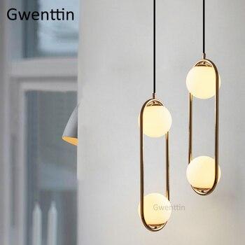 Nordic Glas Ball Anhänger Leuchtet Einzigen Ring Gold Hängen Leuchten Moderne Mond Lampe Für Wohnzimmer Kichen Licht Hause Deco