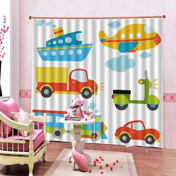 3d Curtains Blackout for Living Room Kids Bedroom Fabric Anime cartoon car color painting