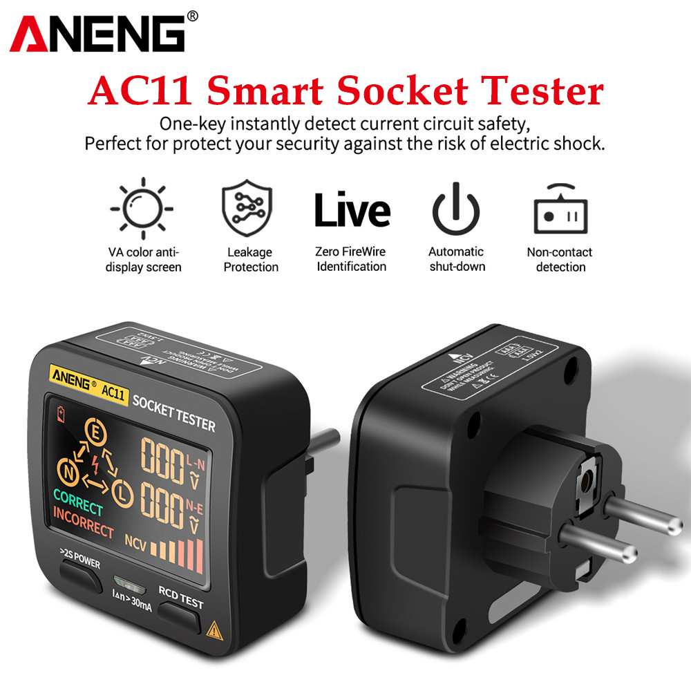 ANENG AC11 мультиметр тестер цифровой смарт-тест на гнездо тестер напряжения детектор гнезда США/Великобритании/ЕС/Австралии заземление нулево...