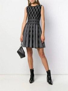 Высокое качество, без рукавов, круглый вырез, трапециевидная жаккардовая черная повязка, женское платье знаменитостей, вечернее платье