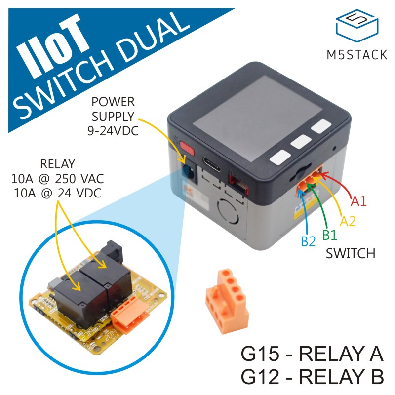 M5Stack IIoT Dual-Switch Kit With ESP32 Core Wireless Control IoT Node DC Power In Customizable Industruial Switch