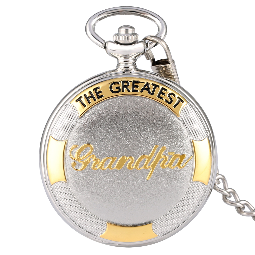Classic The Greatest Grandpa Design Quartz Pocket Watch With Roman Numerals Dial Pendant Chain Clock Best Birthday Gifts
