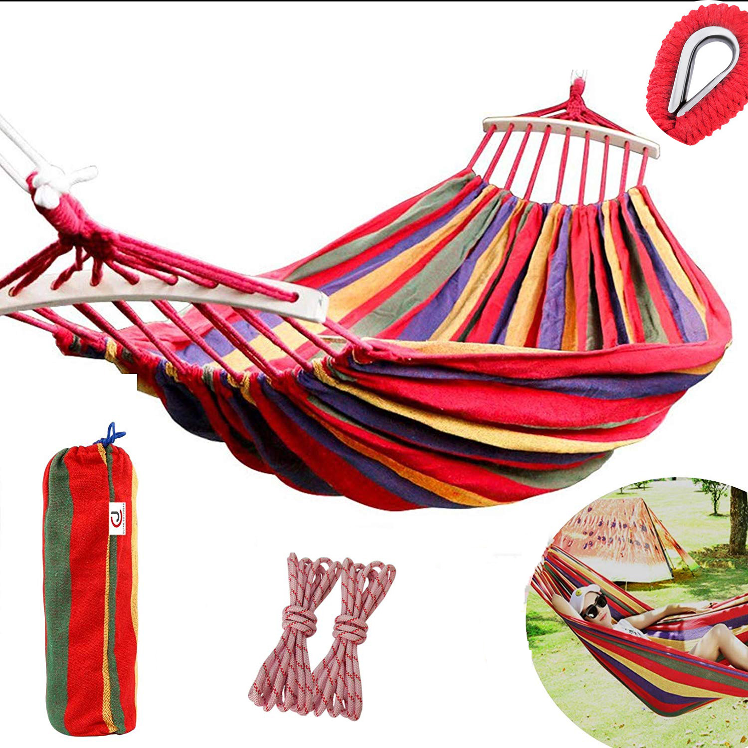 Fine 190x150cm Double Camping Hammock Tent Outdoor Sleeping Swing Hammock Thick Canvas Hanging Bed Lazy Chair For Patio Yard Garden Fixing Prices According To Quality Of Products
