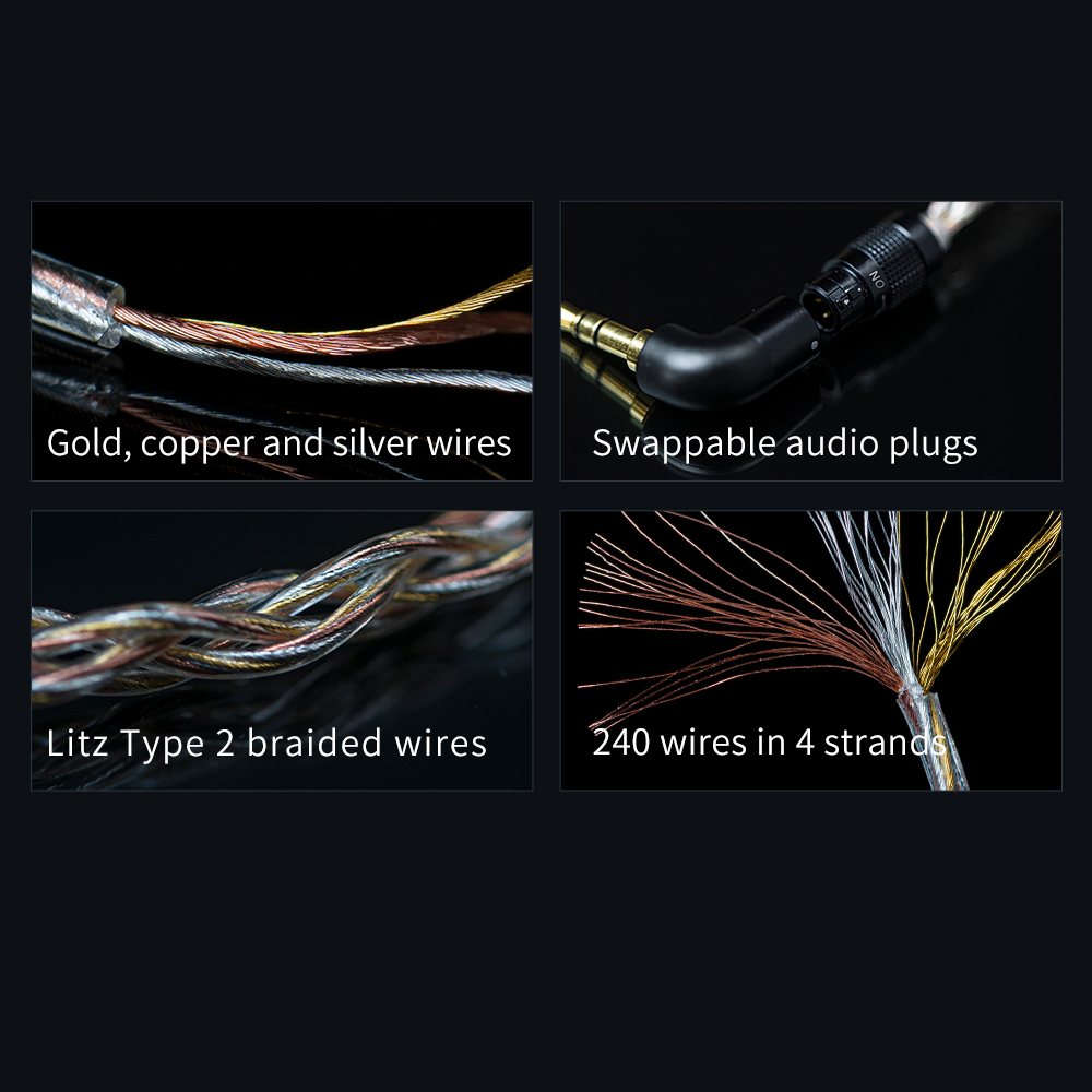 Image 3 - FiiO LC RE LC RE Tri Metallic Swappable plug headphone cable MMCX/0.78mm,Include 3plugs 3.5SE 2.5Balanced 4.4Balanced,for FH7Earphone Accessories   -
