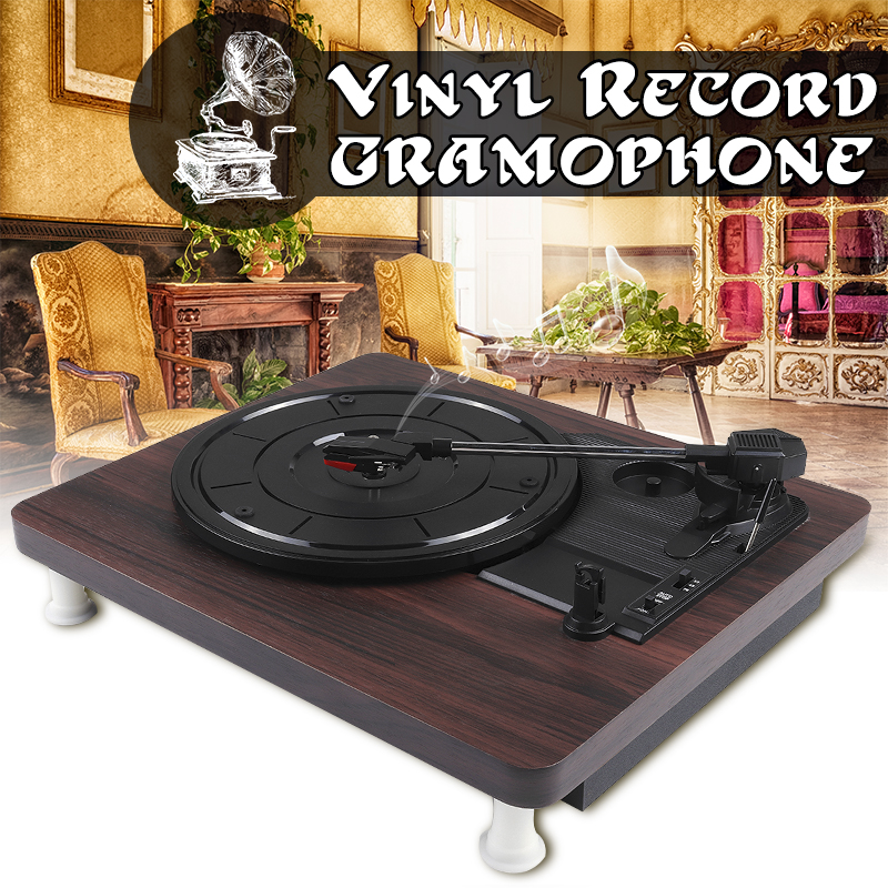Record-Player Turntable Disc Audio Vinyl Antique-Gramophone Wood-Color 33 USB DC RCA title=