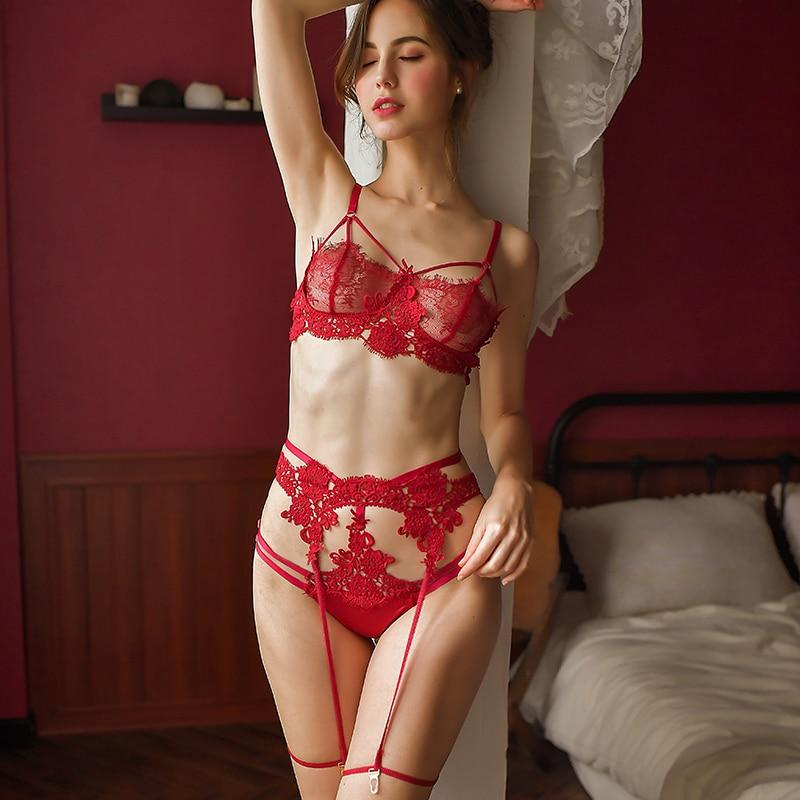 Sexy womans Lingerie Lace   Bra   Panties Garter Underwear 3Pcs   Set   Women Sleep Wear Transparent   Bra     Set