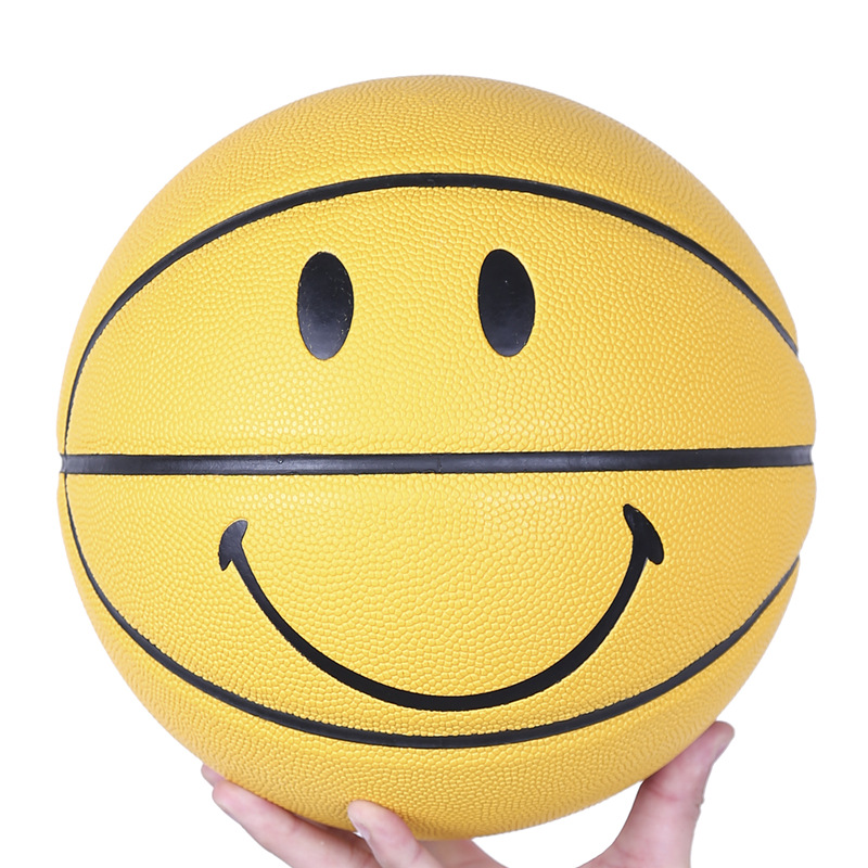 Smiley Basketball Ball Smiling Face Street Basket Ball Size 5 Professional Match Training Basketball Multicolor Gift For Boys PU