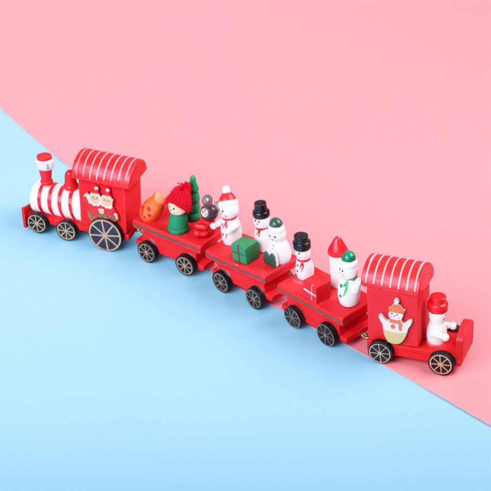 Natal de madeira trem floco de neve pintado atmosfera natal criança brinquedos presente ornamento navidad presente de ano novo decoração de exibição de natal