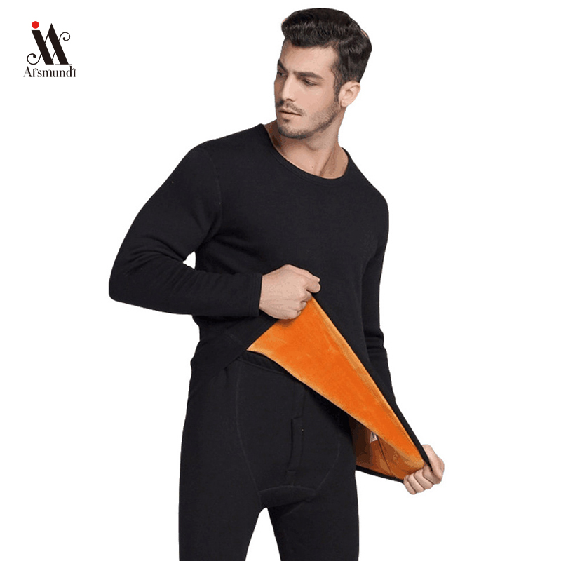 Thermal-Underwear-Sets Thermal Clothing Winter Long Men for Thick Solid title=
