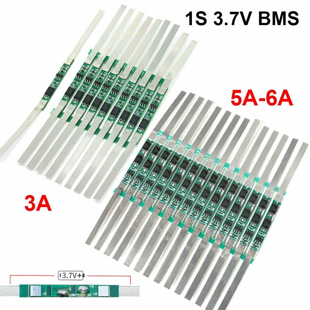 10 pces 1s 3a/5 6a bms pcb placa de proteção para 3.7v 18650 li ion bateria de lítio Circuitos integrados    -