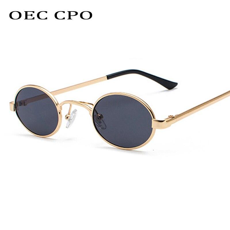 OEC CPO classique petit cadre ovale lunettes de soleil pour hommes marque Design métal haute qualité hommes rond lunettes de soleil pour femmes Vintage O93