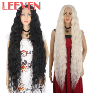 Leeven 40inch Long Water Wave Wigs Synthetic Lace Front Wig Black Blonde 613 Lace Wig Cosplay Hair For woman wigs