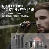 Bolígrafo táctico multifuncional, soporte para teléfono móvil, bolígrafo táctico de autodefensa Lápiz de pantalla táctil herramienta de supervivencia al aire libre con brújula