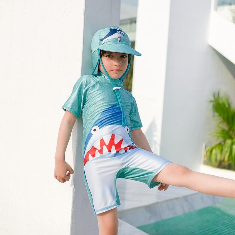 Cute Shark Printed One-piece Boxer BOY'S With Swim Cap Bathing Suit CHILDREN'S Swimsuit Sun-resistant Quick-Dry Children Boy