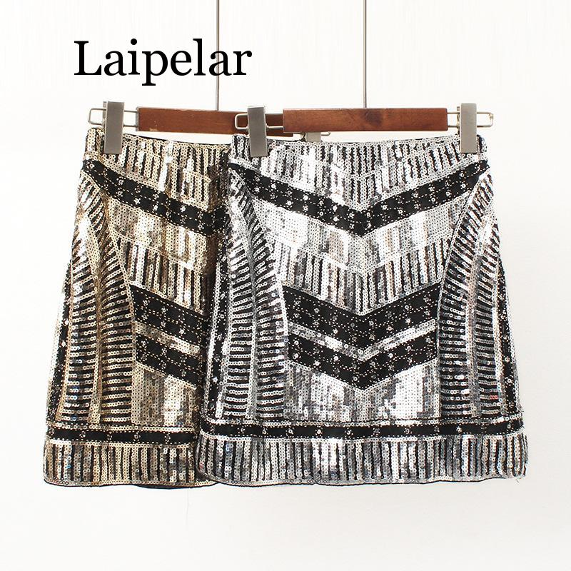 Fashionable Mini Sequin Women Summer Skirt Shiny Gold/Silver Bottoms Hot Sale Girl's Party Night Club Sexy Skirt Laipelar