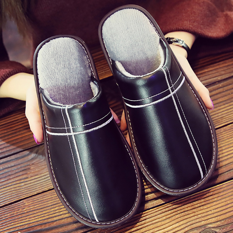 Big Size 45/46 Unisex Slippers Leather Indoor Shoes Men Short Plush Slippers Flat Warm Slippers 2020 New Winter Men Home Shoes