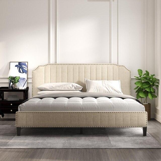 Upholstered Platform Bed With Nailhead Trim  3
