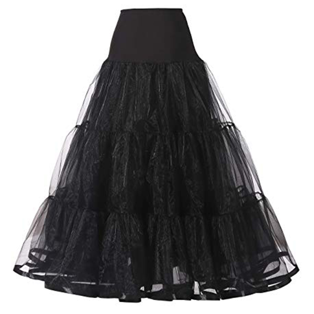 WOWBRIDAL Long Petticoat Ruffled Crinoline Vintage Wedding Bridal Petticoat For Wedding Dresses Underskirt Rockabilly Tutu