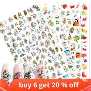 1pcs Sticker Sliders Nail Art Decorations ButterflyDecals 3D Adhesive Stickers Woman Face Leaf FoilManicure Wrap LAF644-653-1