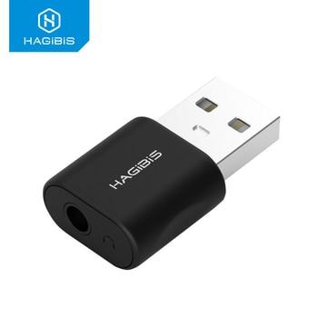 Hagibis USB External Sound Card Converter to Jack 3.5mm Headphone Audio Adapter Mic for PC Laptop adapter
