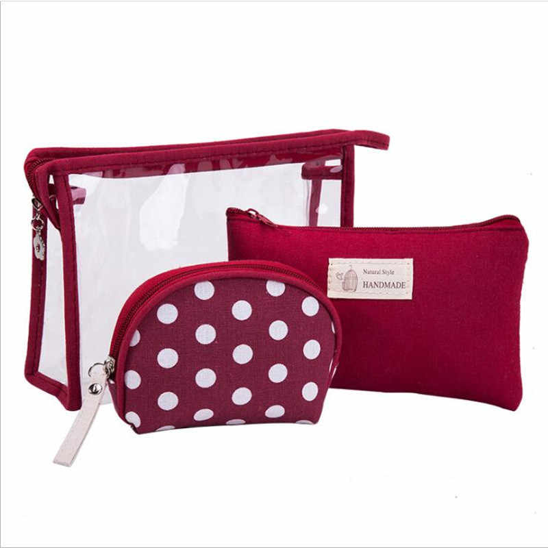 3pcs/set Waterproof Transparent Cosmetic Bags Women Portable Clear Make Up Bag Dot PVC Organizer Travel Toiletry Wash Kit Bag