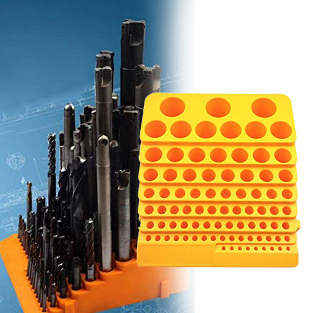 Reamer Multifunction Organiser Accessories Drill Bit Portable Storage Milling Cutter Tool Box Plastic 85 Holes Desktop Rack