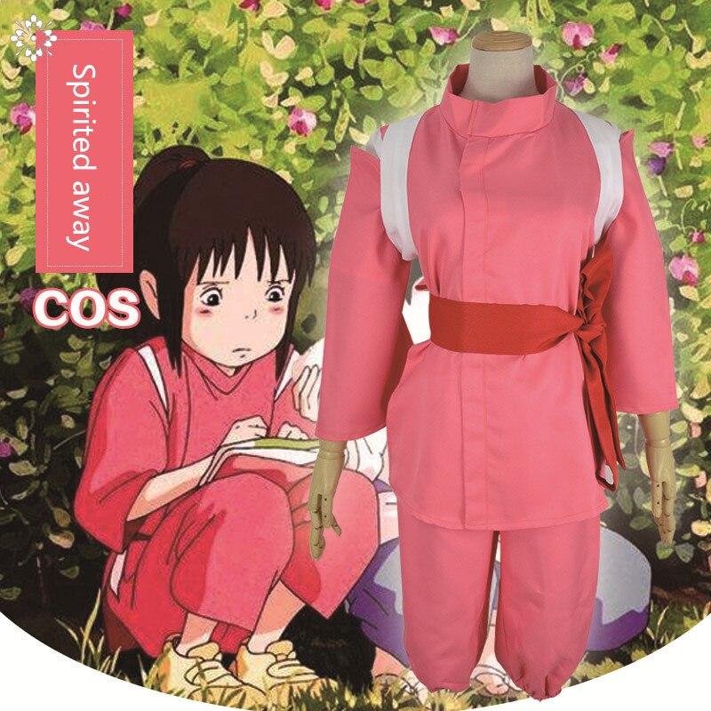 Anime Movie Spirited Away Chihiro Cosplay Costume Girl Cute Pink Kimono Japanese