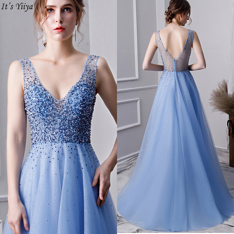It's Yiiya   Evening     Dress   Blue V-Neck Sleeveless A-Line Women Party   Dresses   Beading Backless Floor-Length Robe De Soiree V110