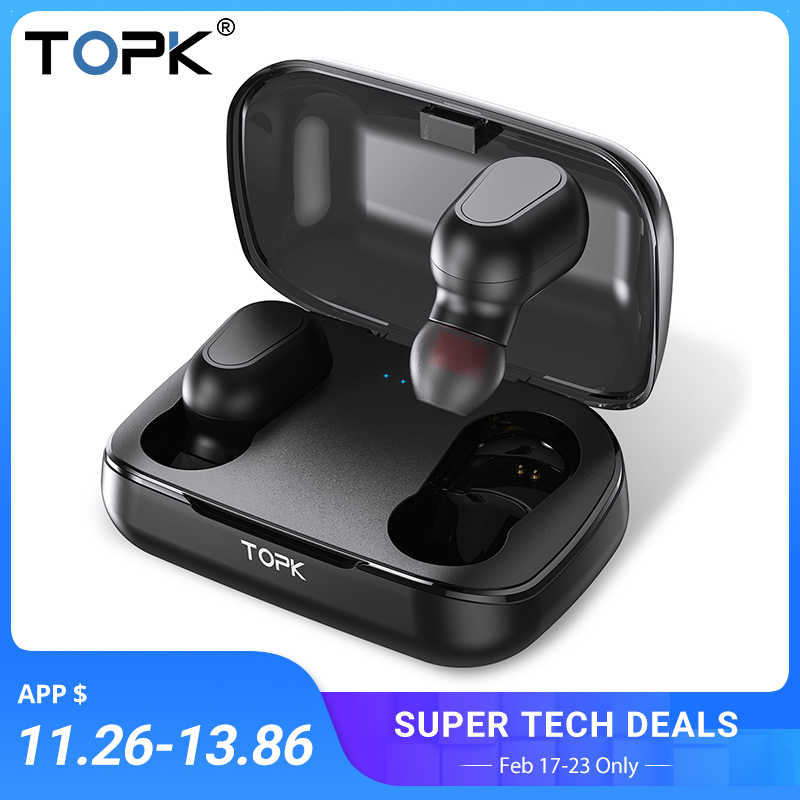 TOPK cuffie Senza Fili TWS Bluetooth v5.0 Display A LED Bluetooth Auricolare Sport auricolari Impermeabili auricolare Supporto iOS/Android
