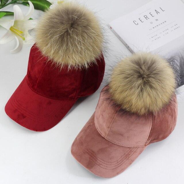 New brand baseball caps 2020 winter cap for women Real fur pompom ball cap Adjustable Casual Snapback hat cap
