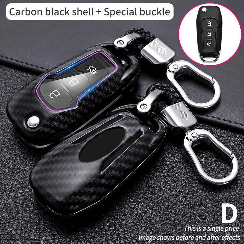 Case Car Key Cover For Ford Fusion Fiesta Escort Mondeo Everest Ranger Accessories Car Keychain Key Cover Cap Holder Protect Set