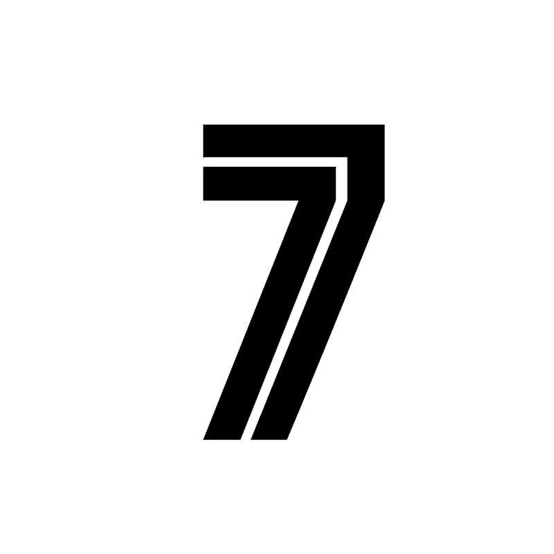 YJZCar стикер личности № 7 Высокое качество автомобильная наклейка из ПВХ водонепроницаемый и солнцезащитные наклейки черный/серебристый 8 см...