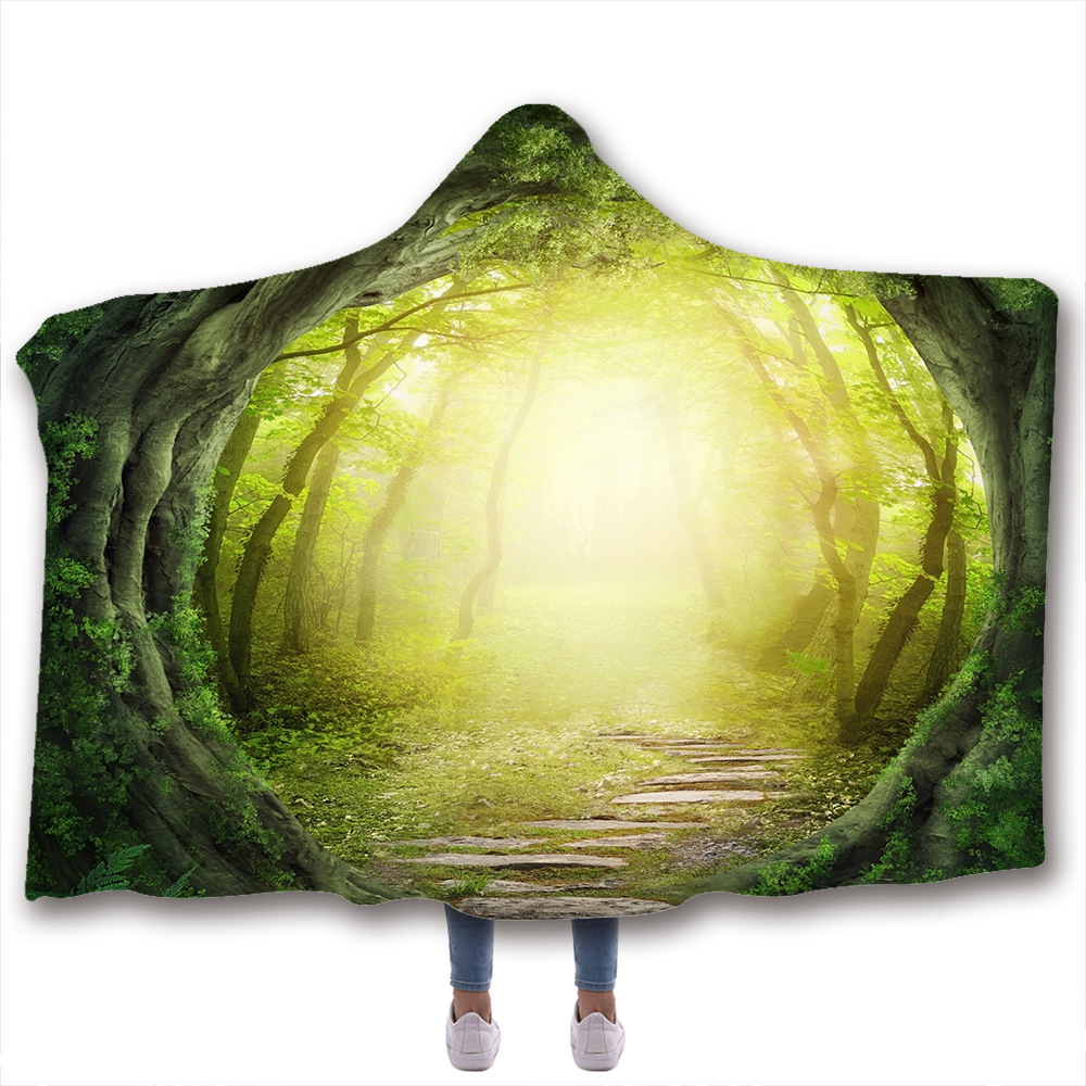 Hooded Blanket 3D Printed Fantasy Forest For Adults Childs Sherpa Fleece Hoodie Blanket Microfiber Throw Blanket For Home Sofa
