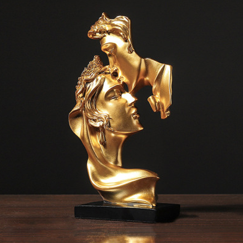 Abstract Figure Statue Resin Ornaments Gold Sculpture Crafts Home Living Room Decoration Figurines For Interior Just6F