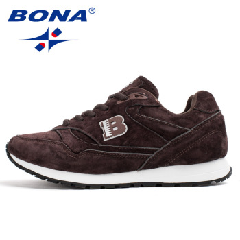 BONA 2020 New Arrival Suede Leather Men Casual Shoes Fashion Flat Shoes Man Lace Up Loafers Shoes Male Outdoor Sneakers Trendy недорого