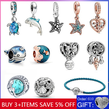 925 Sterling Silver Women Jewelry Ocean Series Turtle Charm Starfish Beads Fit 3mm Bracelet DIY Pendant 2020 Summer Hot Sale