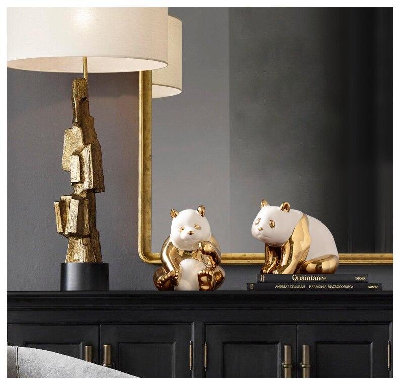 Criativo cerâmica dourada panda escultura bonito animal