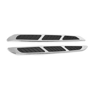 2pcs Black 3D Car Chrome Grille Shark Gill Simulation Air Flow Vent Fender Sticker image