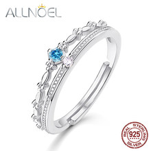 ALLNOEL Silver 925 Jewelry Blue Topaz Peridot Rings Luxury Designer Jewelry for Women White Gold Wedding Band Antique Crown(China)