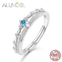 ALLNOEL Silver 925 Jewelry Blue Topaz Peridot Rings Luxury Designer Jewelry for Women White Gold Wedding Band Antique Crown