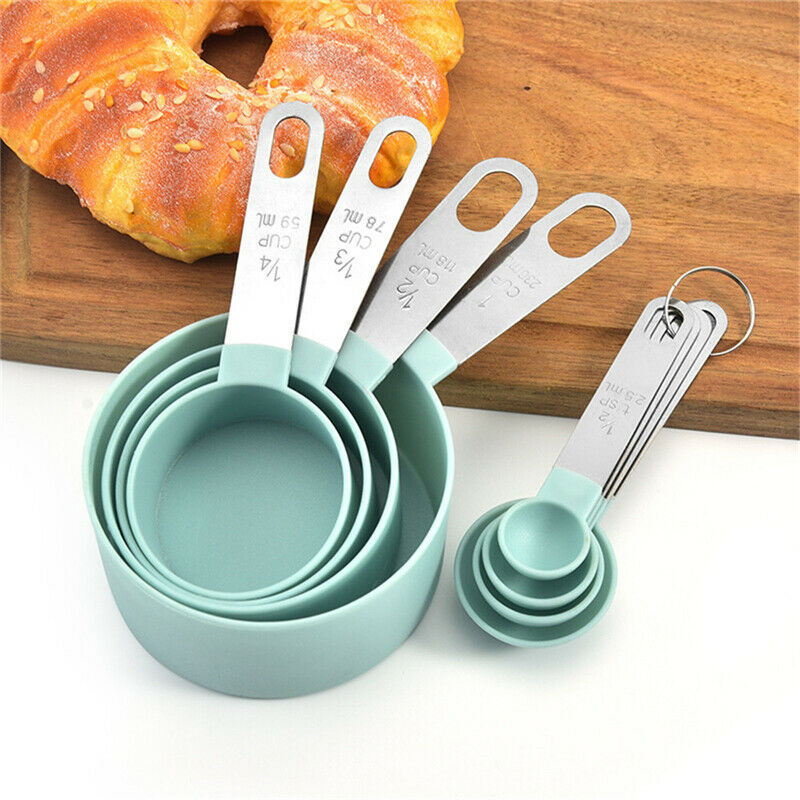 8Pcs//Set Stainless Steel Measuring Cup Spoon With Scales Kitchen Cooking Baking