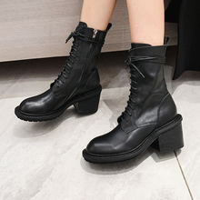 Plus Size 34-40 Fashion Autumn Winter Women Ankle Boots Genuine Leathere Lace Up Martin Boots Round Toe Sexy Ladies Flats Shoes plus size 34 43 fashion women boots with warm plush shoes spring autumn winter lace up punk flats round toe ankle martin boots