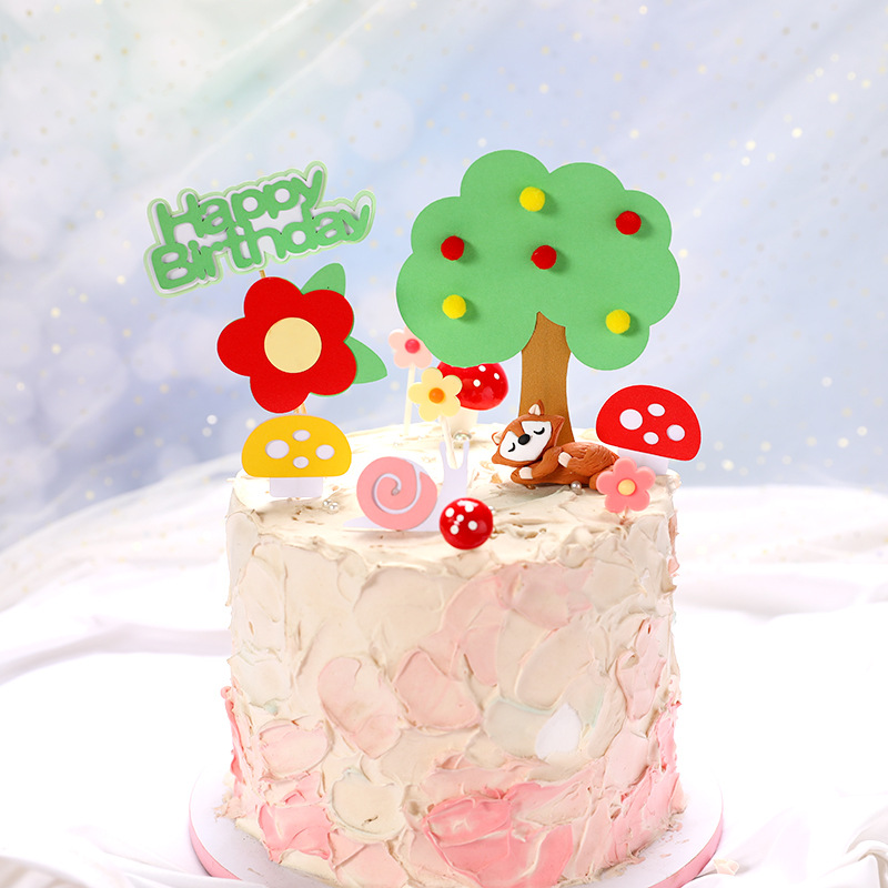Groovy Cute Birthday Cake Decoration Cake Topper Mori Fruit Tree Flower Personalised Birthday Cards Cominlily Jamesorg