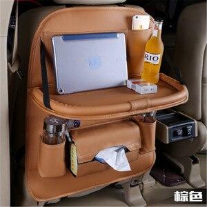 Large 50*65CM Car Backseat Storage Organizer Multi-Pocket Tray PU Pad Cups Storage Holder Bag Box Foldable Shelf Stowing Tidying