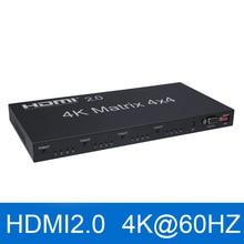 Interruptor divisor 4 en 4, 2,0 Matriz HDMI, 4K @ 60Hz(RGB/YUV 4:4:4), control de salida a través de RS232 o IR, conmutador HDMI remoto