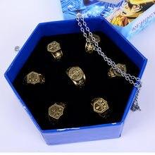 Anime katekyo hitman renascer sawada tsunayoshi anéis de cosplay com caixa vongola anéis do vintage figura ação cosplay jóias presente