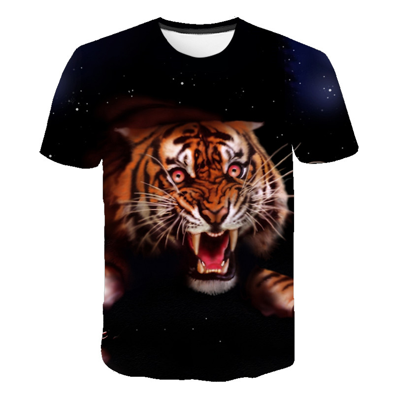 Brand 2020 Animal / Tiger Anime Short-sleeved Round Neck T-shirt 3D Printed Pattern Hip-hop Personality T-shirt Men's Summer Top