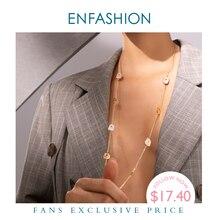 ENFASHION Unregelmäßigen Natürlichen Muschel Anhänger Halskette Frauen Gold Farbe Edelstahl Femme Lange Halskette Mode Schmuck P193047